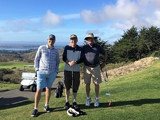 kevin shane and chris discussing insurance at Bodega bay golf club